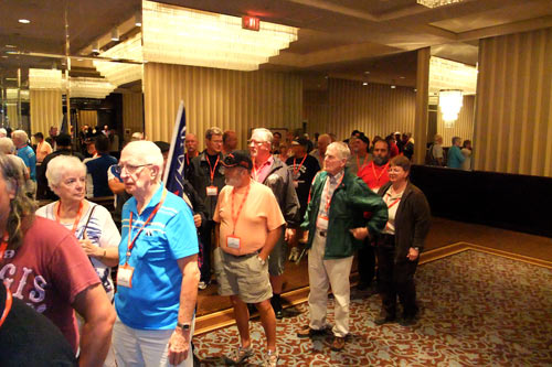 Retirees wating to enter convention floor
