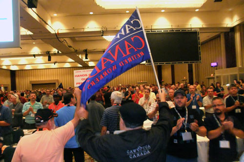 Frank Marek & Doug Berry Carry our flag onto the convention hall