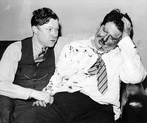 "alter Reuther and a bloodied Richard Frankensteen regroup after the beatings. ""The very most we anticipated,"" Frankensteen later recalled, ""was that Harry Bennett might order the firehoses turned on us. But we miscalculated."" (Scotty Kilpatrick / The Detroit News)"