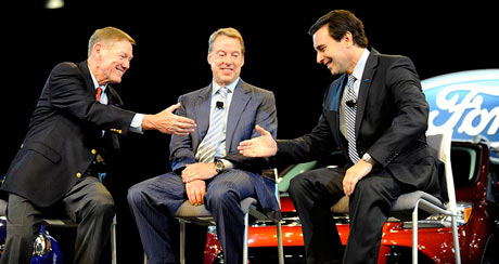 Ford Motor CEO Alan Mulally, left, Ford Executive Chairman Bill Ford Jr. and COO Mark Fields speak to the media during a press conference, announcing that Mulally will retire July 1 and Fields will take the helm, at Ford Motor Company World Headquarters in Dearborn, May 1, 2014. (David Coates/The Detroit News)