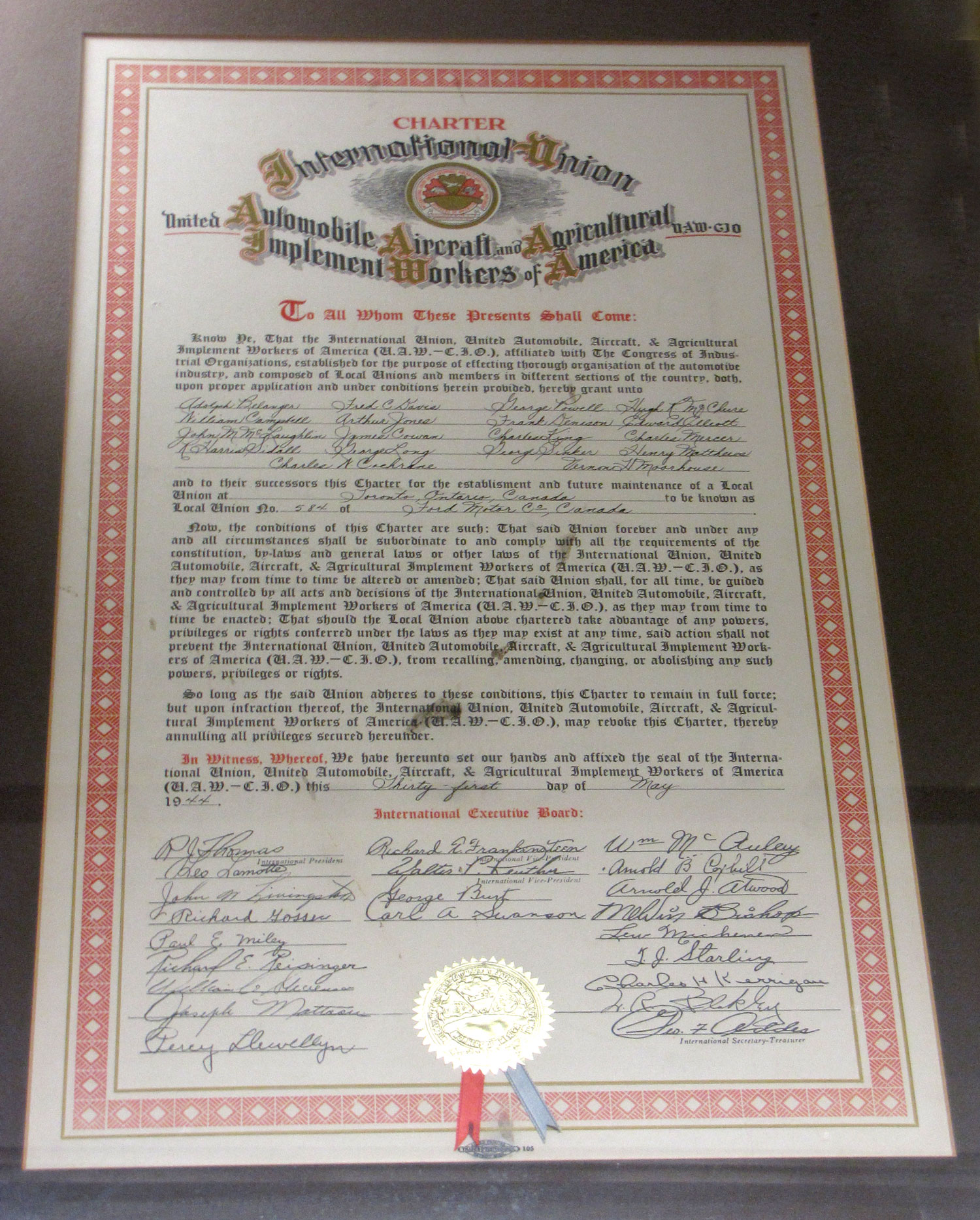 Uaw local 584 charter 1944