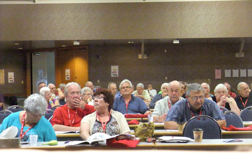 Delegates listen to the Resolutions being debated.