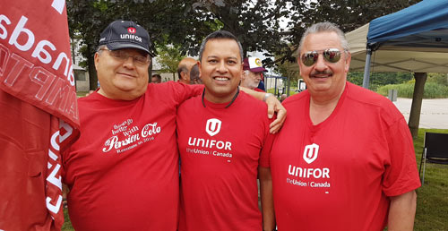 Northstar Protest Doug Berry, Chris Wilski and Arvin Gangwar from Unifor Local 584