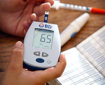 Diabetics young and old can require daily doses of insulin. Blood is often tested with a glucose monitor.