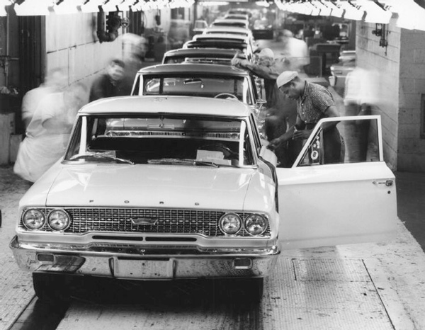 On the line at Ford Motor Co.'s Wayne assembly plant, on Nov. 25, 1962.