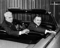 Henry Ford II, right, chairman of the board of Ford Motor Co., is seen with newly named Ford President John Dkystra in 1961. The grandson of Henry Ford I joined the company in 1940, took over as president in 1945 and played various roles until his death in 1987. He and Gianni Agnelli, the grandson of Fiat founder Giovanni Agnelli, became great friends. (The Detroit News)