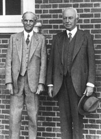 Henry Ford and Giovanni Agnelli stand together during the Fiat founder's third trip to the United States in 1934. Giovanni's grandson Gianni kept a photo of the two men on his desk after he took over Fiat in 1966. (Fiat SpA)