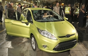 Some observers say Ford has a head start on its Detroit 3 rivals on shifting attention to small cars, like the Fiesta subcompact. (Bill Pugliano / Getty Images)