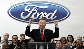 "Ford CEO Alan Mulally says Ford's gains will continue and he expects the company to be ""solidly profitable"" by 2011. But he warns that 2010 will be a challenging year for all of the auto industry. (Paul Sancya / Associated Press)"