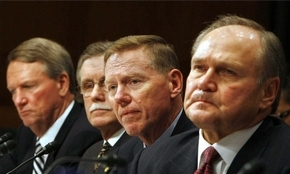 Former GM CEO Rick Wagoner, from left, UAW President Ron Gettelfinger, Ford CEO Alan Mulally and former Chrysler CEO Robert Nardelli at the 2008 hearings.