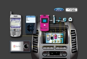 These are some of the devices that can function inside Ford vehicles equipped with Sync. Drivers can operate mobile phones or digital media players using voice commands or the vehicle's steering wheel or radio controls. (Ford Motor Co.)