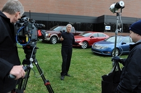 """Jeopardy!"" host Alex Trebek spent Thursday at Ford Motor Company in Dearborn filming special video clues for upcoming episodes. (Ford Motor Company)"
