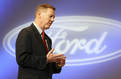 Ford Motor Company president and CEO Alan Mulally speaks at the New York International Auto Show on April 4, 2007.