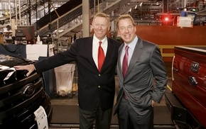 Alan Mulally, left, had several qualities Bill Ford Jr., right, was looking for in a leader including a reputation for getting people to work together as a team.