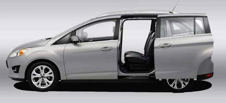 The second-row middle seat in the 2011 C-Max stows into the seat beside it, allowing