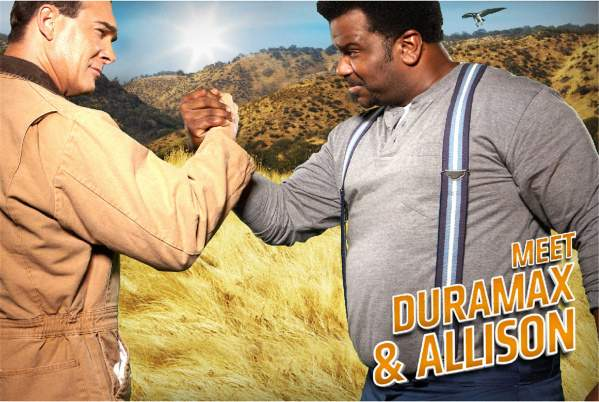 "The ""Max and Al"" Chevrolet Silverado HD campaign offers Patrick War- burton as Duramax diesel and Craig Robinson as Allison transmission. (General Motors)"
