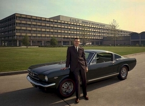 Donald Frey stands by the Ford Division Building in 1965, three years before he left for General Cable Corp. (Ford)