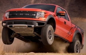 "The grille on the Ford F-150 SVT Raptor features a brick-wall pattern emblazoned with the word ""Ford."" (Ford)"