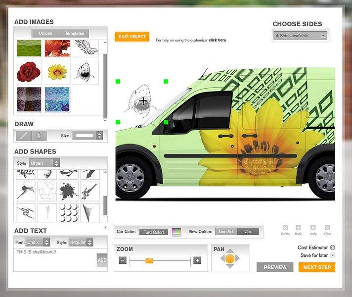 Business owners can use the 'Create Your Own' section of the Transit Connect Web site to design their own wrap for the van.