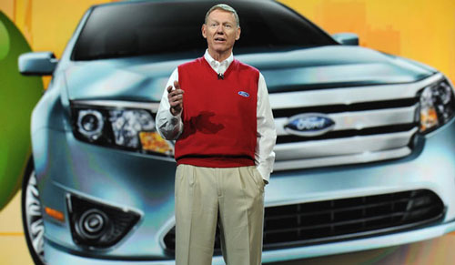 Ford President and CEO Alan Mulally delivers the opening keynote address at the 2010 International Consumer Electronics Show. (Robyn Beck/AFP/Getty Images)