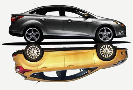 2012 Ford Focus sedan, top, and the hatchback, below (Illustration by Kim Storeygard / The Detroit News)