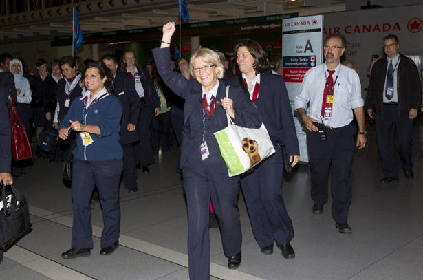 Air Canada employees walked off the job at Pearson Airport just after midnight on Tuesday June 14, 2011.