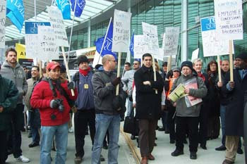 More than 100 Air Canada workers rallied outside the airport in Montreal on April 21 calling for a fair contract. Negotiations have been on going since February.