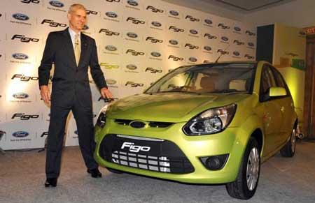 Nigel Wark, marketing chief for Ford India, launches the Figo in March. The compact was named Indian Car of the Year in December. (Dibyangshu Sarkar / Getty Images)