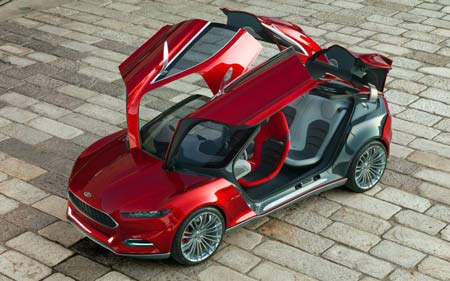 The gullwing doors won't be offered, but the Ford Evos Concept shows off the brand's new image. (Ford)