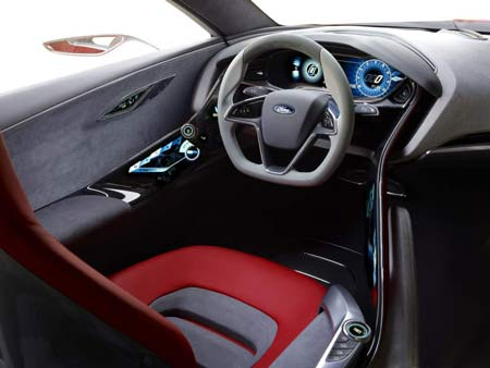 The inside of the Ford Evos Concept, to be unveiled at the Frankfurt auto show, features a red driver's seat that monitors stress levels.