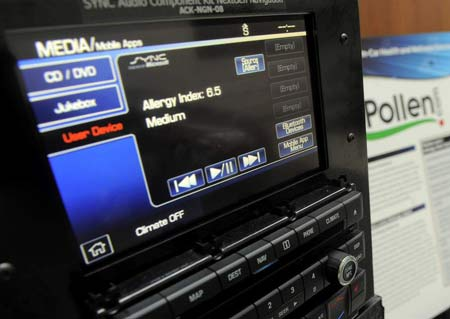 A Ford Sync display model runs Pollen.com's app, on Wednesday at Ford's Ford Research and Innovation Center in Dearborn. (Steve Perez / The Detroit News)