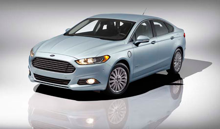 The 2013 Ford Fusion Energi plug-in hybrid will deliver more than 100 mpg-e, a miles-per-gallon equivalency metric. (Ford Motor Company)