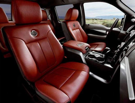 The new 2013 F-150 Limited will come with red and black full-grain leather seats, standard moon roof and rearview camera. It also will be equipped with MyFord Touch. Ford