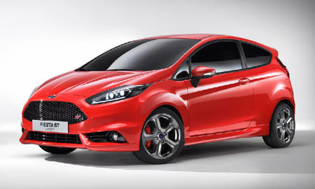Ford Motor Co. introduced the Fiesta ST as a production-ready model at the 2012 Geneva Motor Show and will introduce it in Europe in 2013. On Nov. 19, 2012, the automaker announced that for 2014, it will introduce its award-winning 1-liter, three-cylinder EcoBoost engine in the Fiesta for the U.S. market. (Ford Motor Co.)