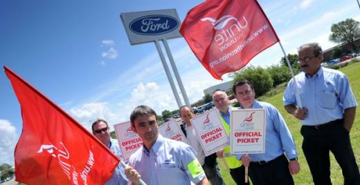 Although the company declared that the employees agreed to this package that includes new hire rates and changes to defined benefit pensions, the workers went on strike on Monday at seven Ford locations in Dunton, Warley, Dagenham, Bridgend, Southampton, Daventry and Halewood.