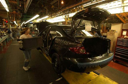 A Mazda6 winds its way down the line in Flat Rock. The automaker will move production of the Mazda6 to Japan. (The Detroit News)