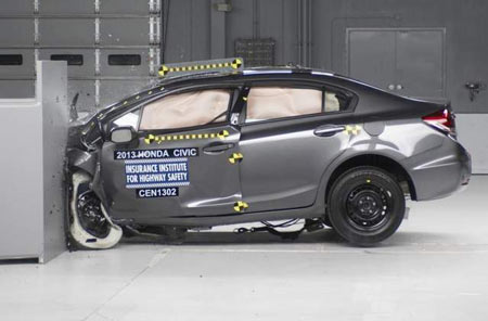 Honda Civic's two-door and four-door finished atop the crash test. (IIHS