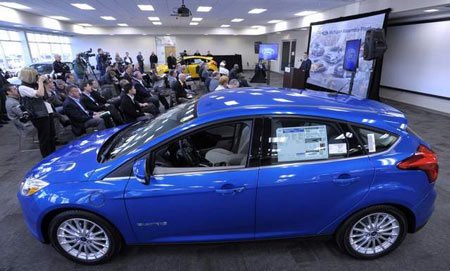 The Focus Electric, above, is one of six electrified vehicles in Ford's portfolio: There are also the C-Max and Fusion hybrids, C-Max and Fusion Energi plug-in hybrids and Lincoln MKZ Hybrid. (Todd McInturf / The Detroit News