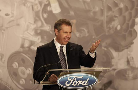 Ford President of the Americas Joe Hinrichs announces plans to build the 2-liter EcoBoost engine at Ford's Brook Part plant near Cleveland. (Tony Dejak / Associated Press)