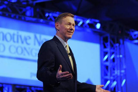 "Alan Mulally said the No. 1 focus is on quality at Ford. ""That's why we hold vehicles up when they are not ready,"" he said. (Elizabeth Conley / The Detroit News)"