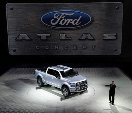 The Ford F-150 concept truck, known as the Atlas, debuted in January during the North American International Auto Show in Detroit. The Atlas has a tailgate step that also serves as a cargo cradle. (David Coates The Detroit News)