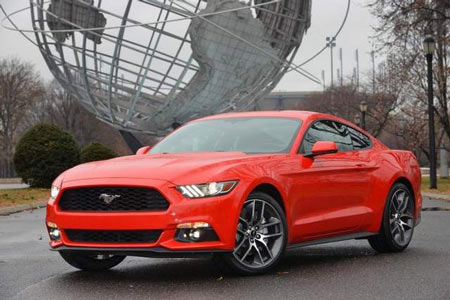 The base Mustang — a fastback with a 3.7-liter V-6 — will have a starting base price of $24,425. (VarnHagen / Ford)