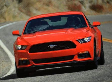 The 2015 Mustang corners like a champ, with a sleek front end that has taken on a European feel. (Ford)
