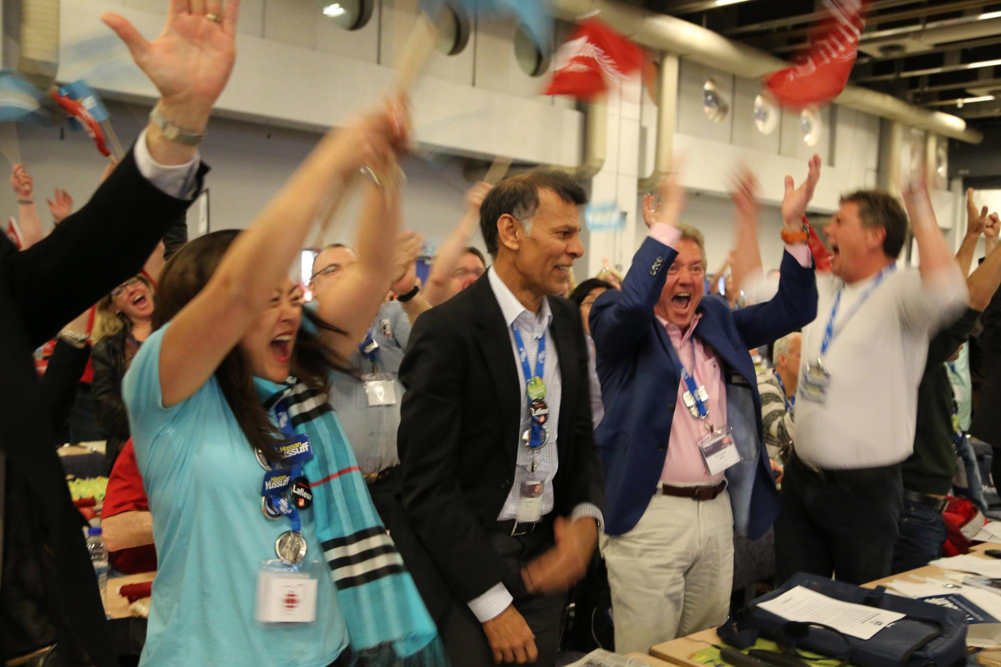 Chants of solidarity were heard throughout the convention hall in montreal as yussuff s supporters rushed to embrace the new president