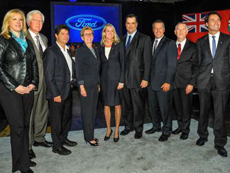 Officials from Ford and various levels of government at the September 2013 announcement of a $700 million investment at Ford. Today that influx of cash means the new Edge Concept will be built in Oakville.