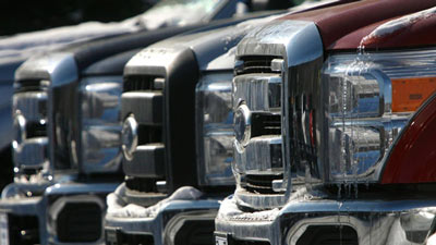 A lineup of Ford F-250 trucks is seen at Formula Ford on Friday, Jan. 28, 2011 in Montpelier, Vt. (AP / Toby Talbot)