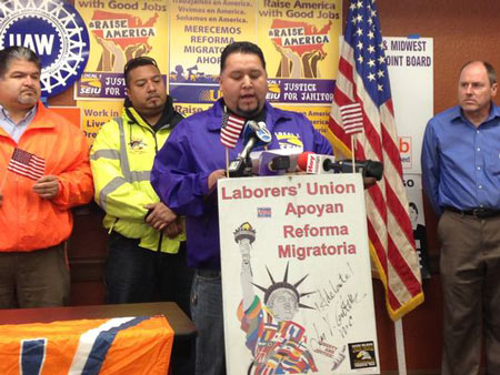 Felipe Diosdado, 36, came to the U.S. illegally in 1997 and is now a member of the Service Employees International Union Local 1.