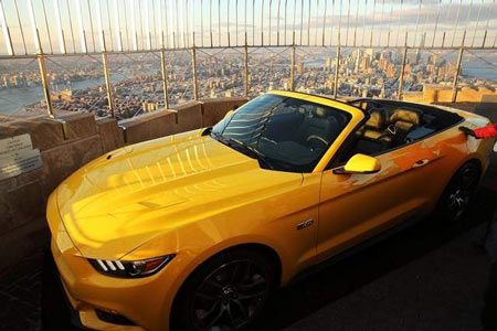 A 2015 Mustang convertible sits on the observation deck of the Empire State Building in honor of the ponycar's 50th anniversary. (Spencer Platt / Getty Images)