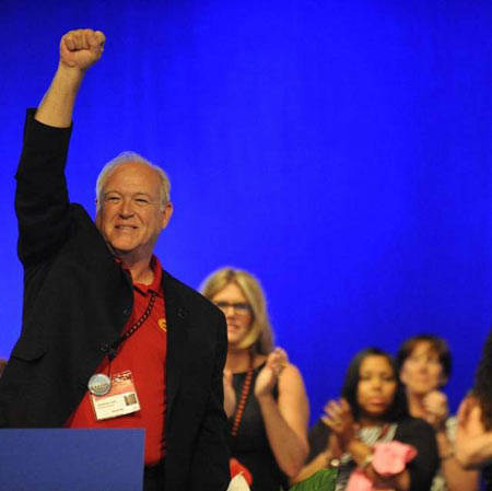 UAW President Dennis Williams after his election on Wednesday. The UAW secretary-treasurer received 98 percent of the vote. (David Coates / The Detroit News)