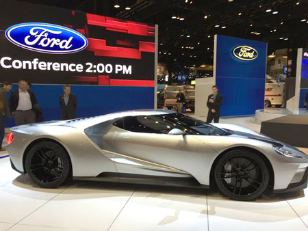 The Ford GT super car on display at the 2015 Chicago Auto Show in Chicago.